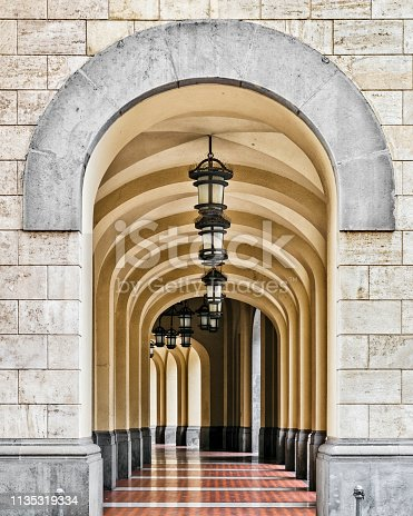 Passageway in the Town Hall, Salerno, Italy.