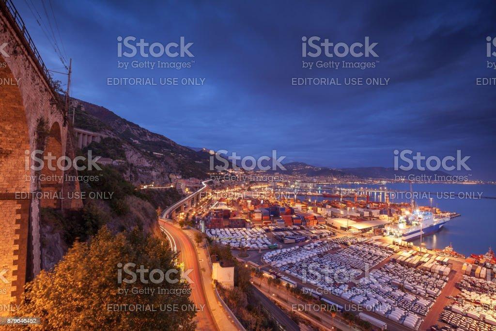 Salerno skyline from port side stock photo