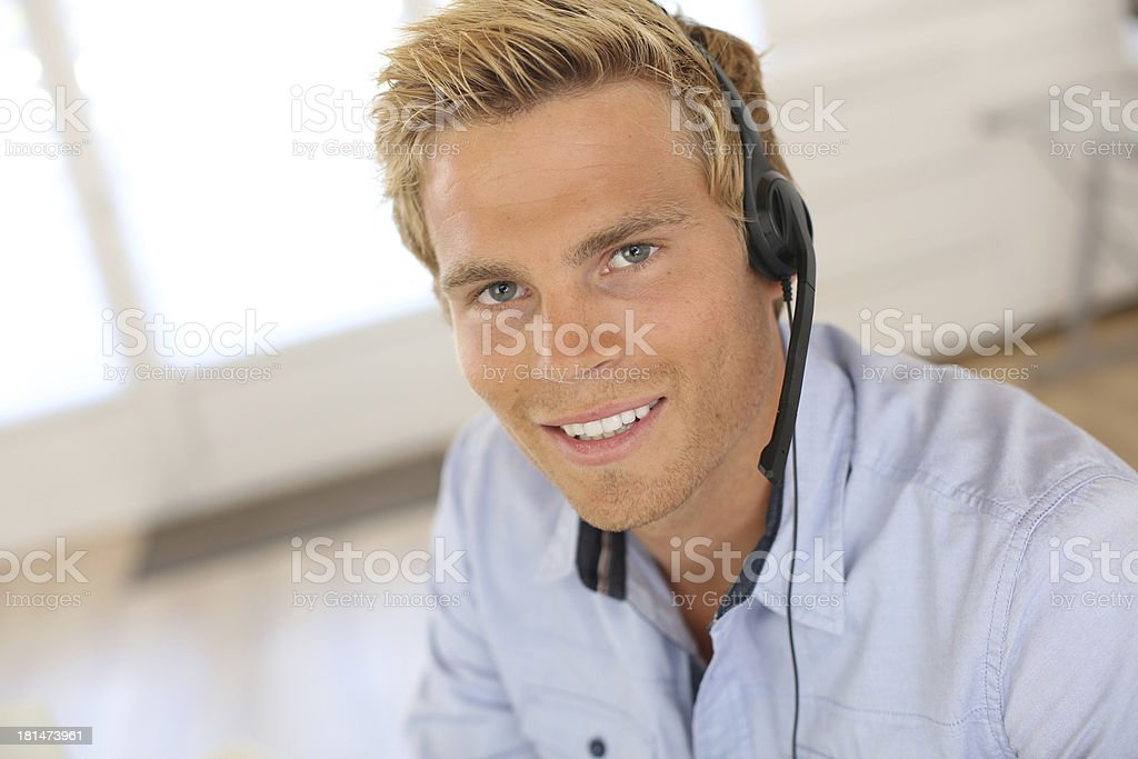 Sales assistant answering hotline stock photo