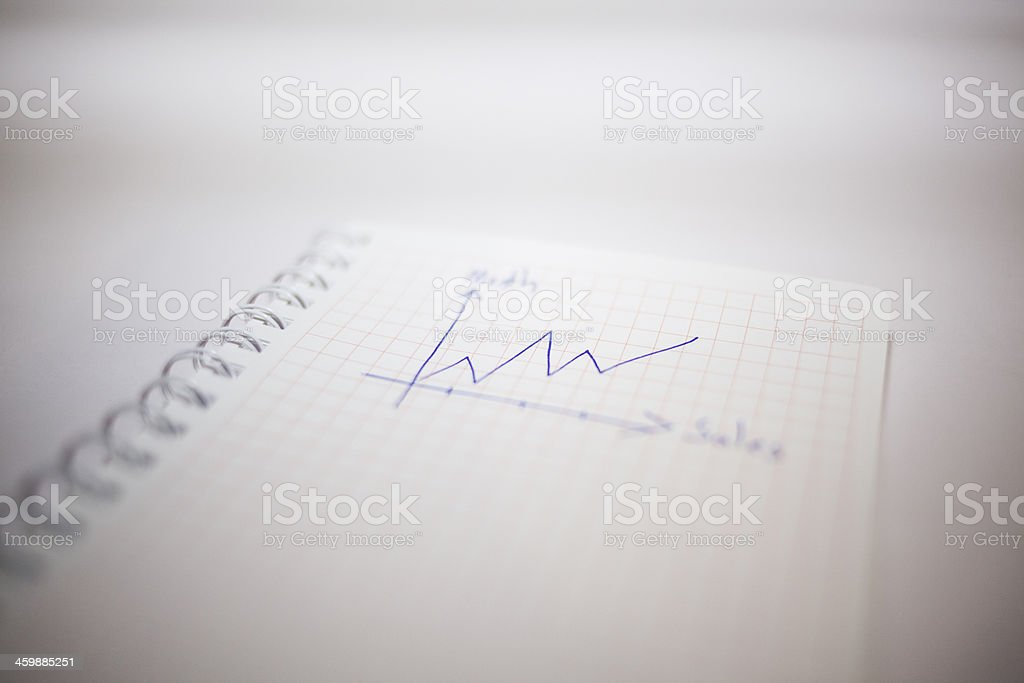 Sales chart on a Notepad stock photo