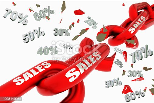 istock sales discount prices broken red chain, 10,20,30,40,50,60,70, isolated in white for background - 3d rendering 1098149954