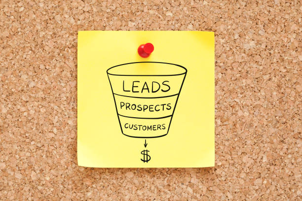 sales funnel business concept on sticky note - sales funnel stock photos and pictures