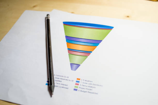 sales funnel chart printed on a white sheet of paper on a meeting table - sales funnel stock photos and pictures
