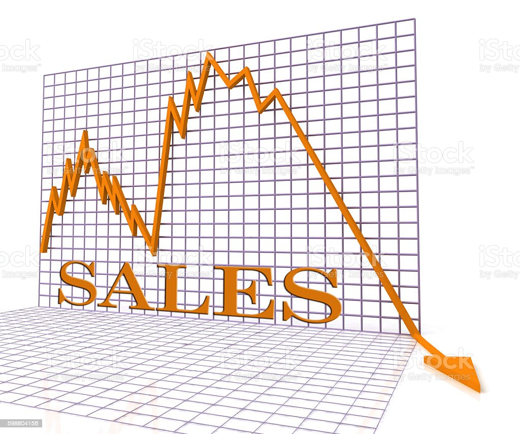 Sales Graph Negative Means Disaster Down And Chart 3d Rendering Stock Photo  - Download Image Now - iStock