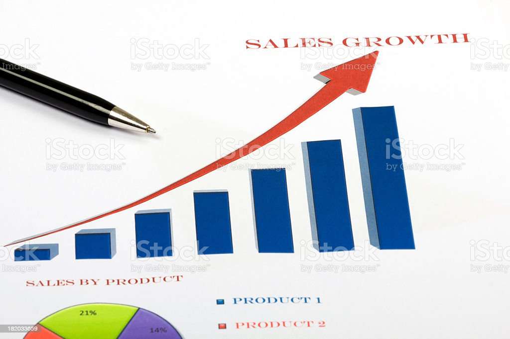 Sales growth business concept with blue graph royalty-free stock photo