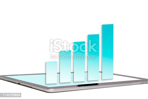 Sales growth chart on tablet screen