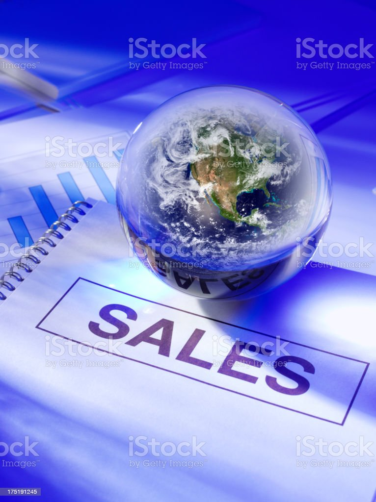 Sales Ledger and a World Globe royalty-free stock photo