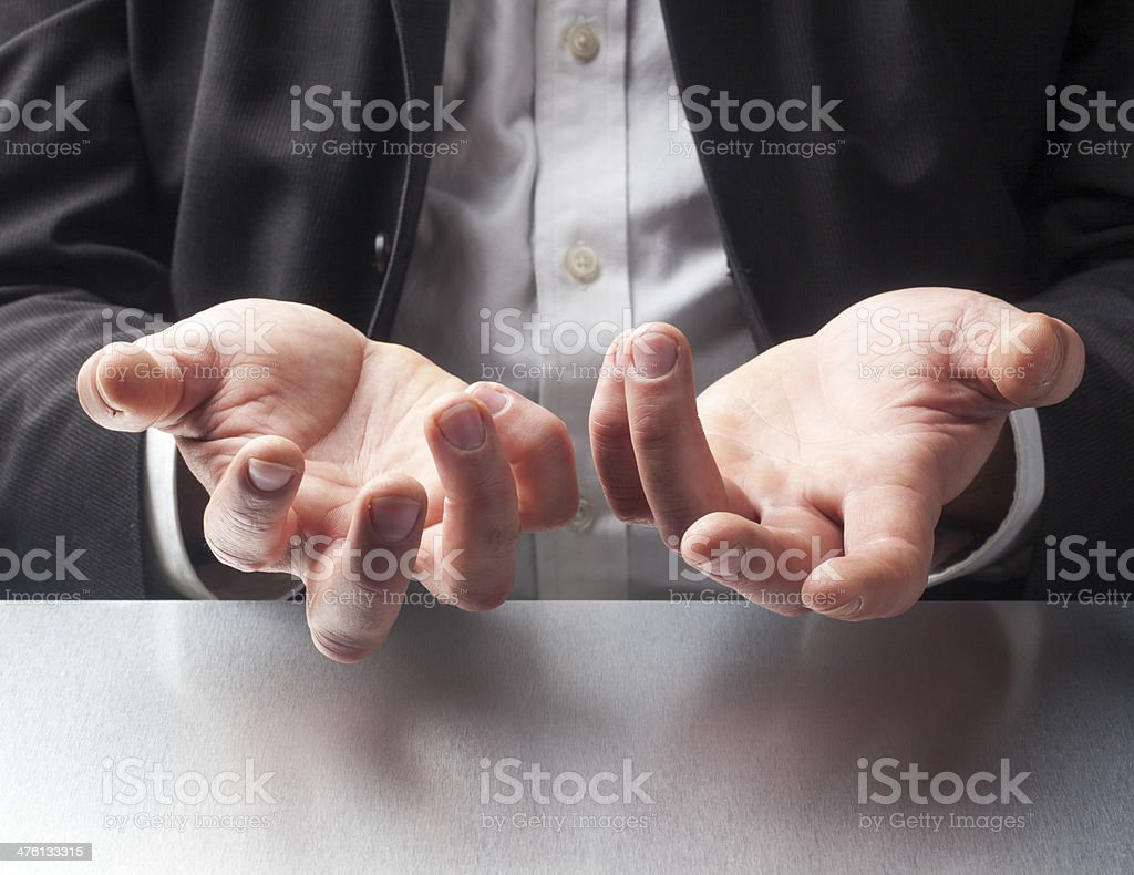 sales man hand gestures royalty-free stock photo