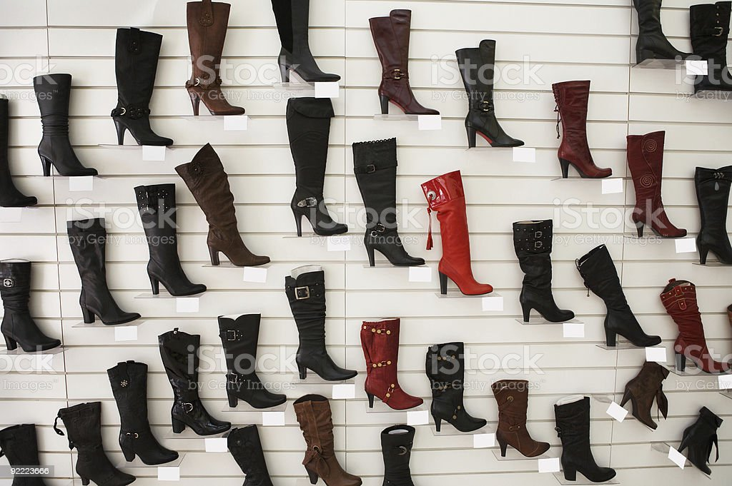Sales of fashionable footwear stock photo