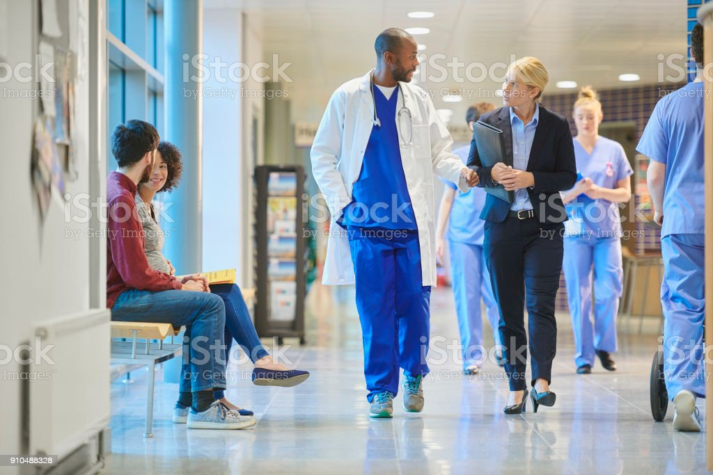 sales person at the hospital stock photo