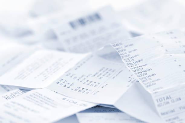Sales receipts stock photo