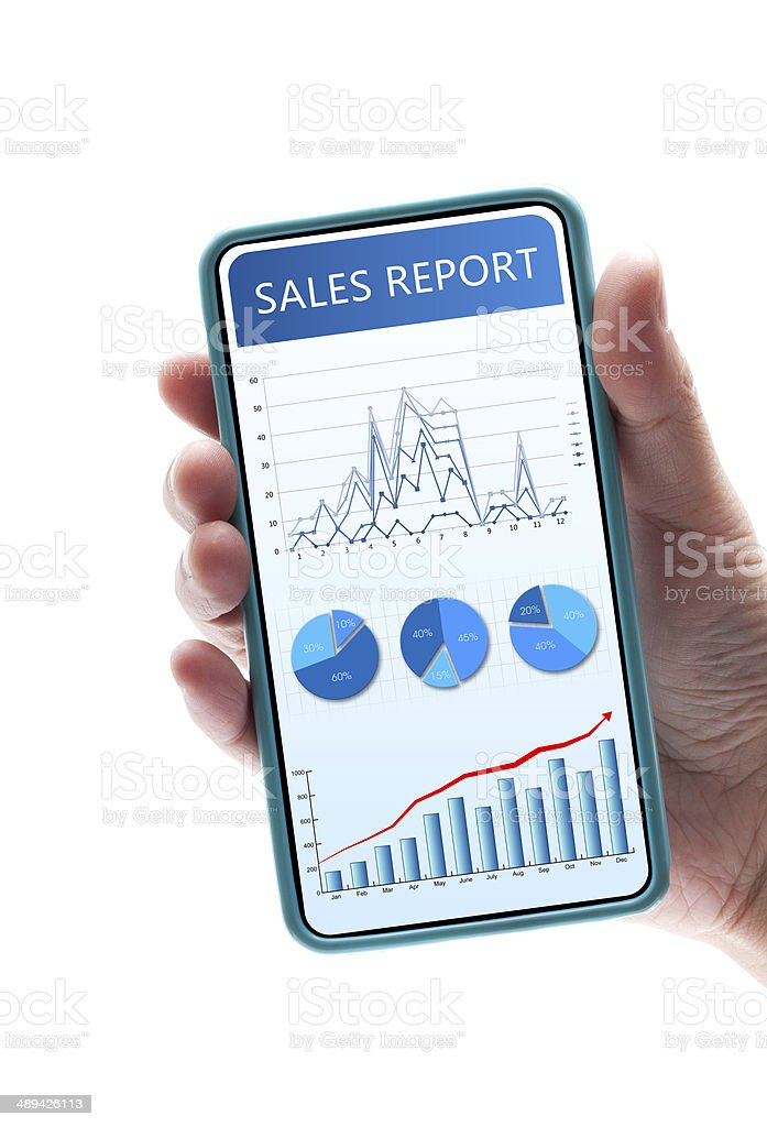 Sales Report  in Smart phone isolated on white background royalty-free stock photo