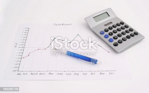 Sales Report with pen and calculator