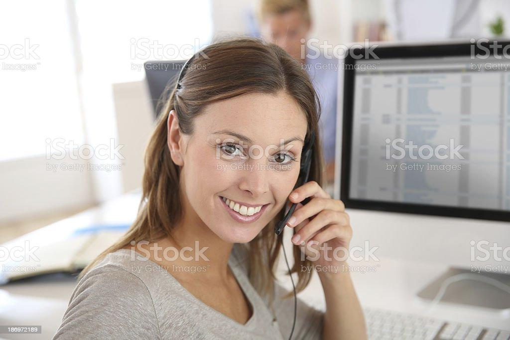 Sales representative talking on the phone stock photo
