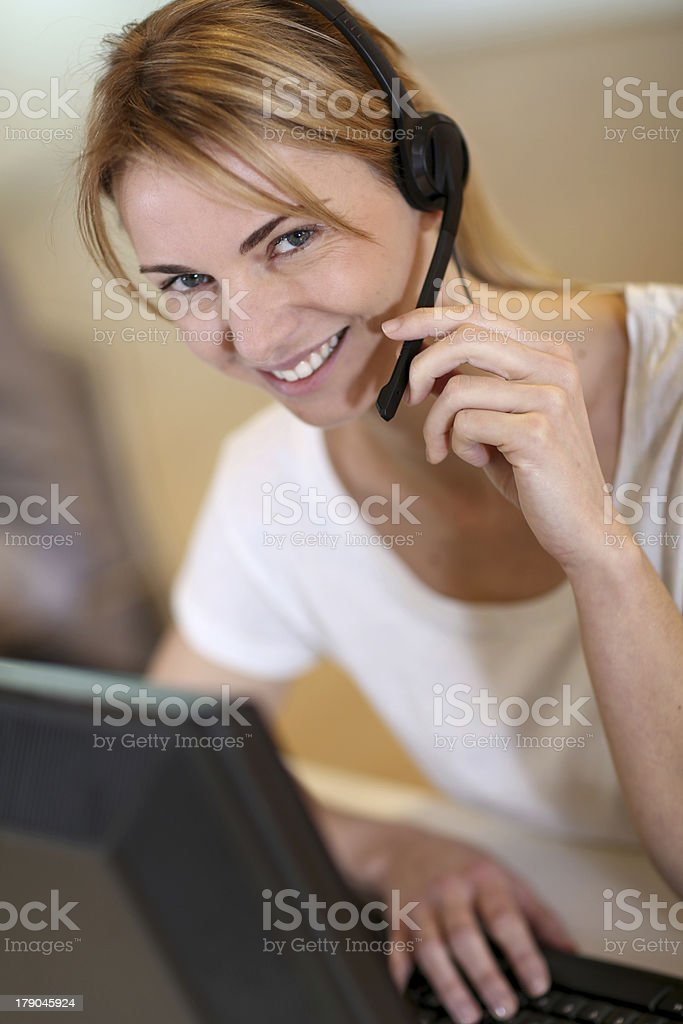 Sales service operator at work stock photo