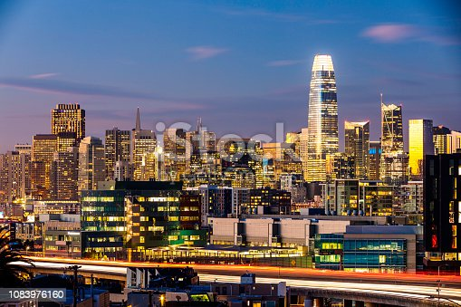 High quality aerial stock photo of the San Francisco, Bay Area skyline.
