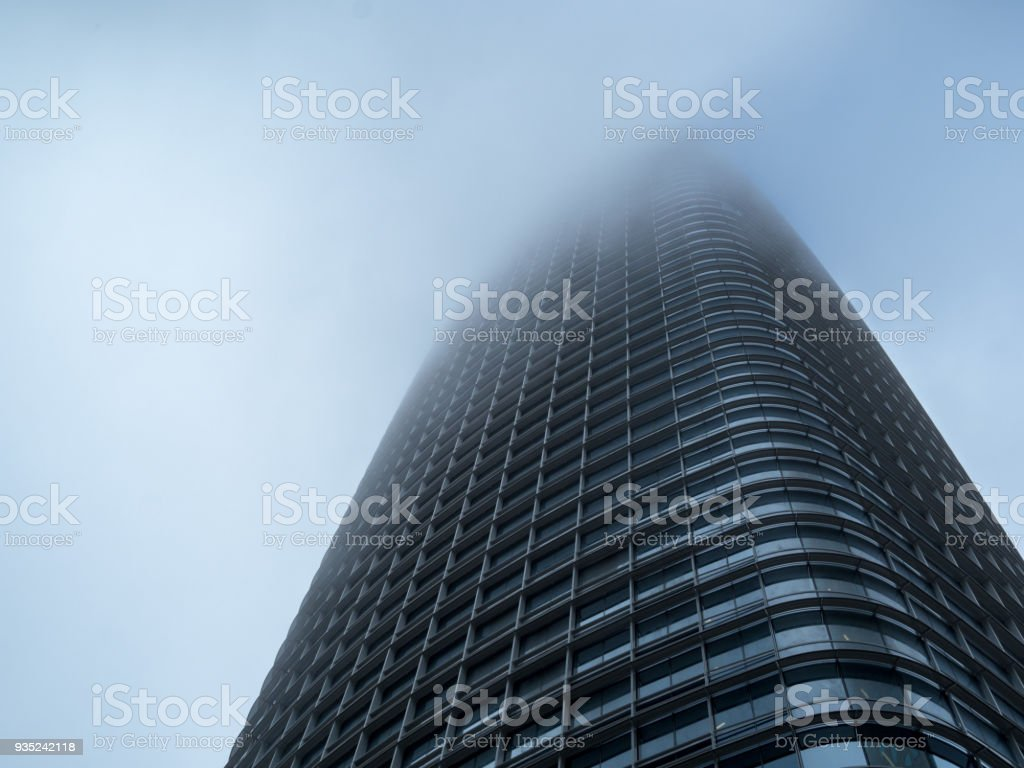 Salesforce Tower cutting the fog in San Francisco stock photo