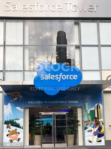 Salesforce Tower NY Main Entrance on 6th Avenue, facing Bryant Park.