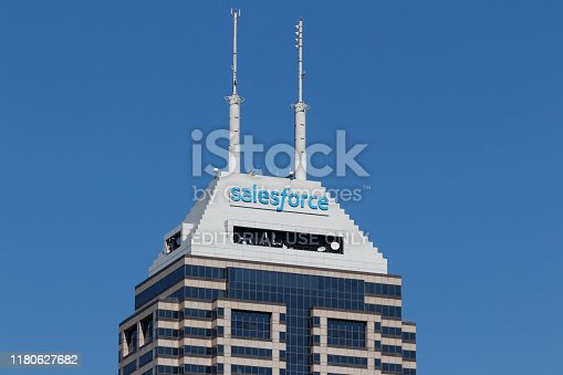 Indianapolis - Circa October 2019: Salesforce tower. Salesforce intends to continue its investment in integration software, customer data and SMBs