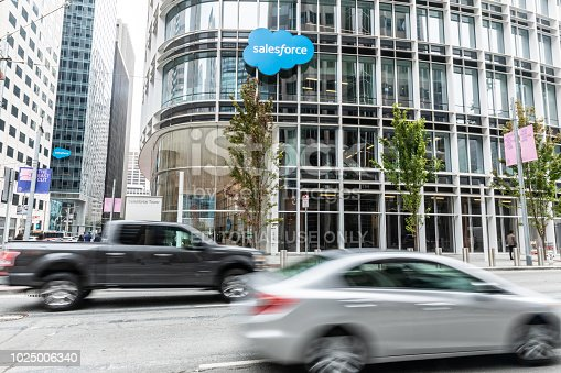 San Francisco, United States - August 24, 2018: Outside Salesforce Tower in San Francisco, located at 415 Mission St. Salesforce is an American cloud computing company with headquarters in San Francisco, California.
