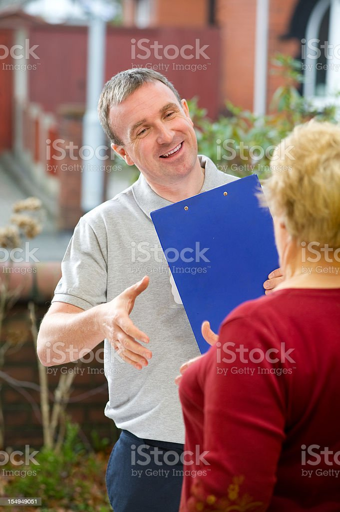 Salesman introduces himself stock photo