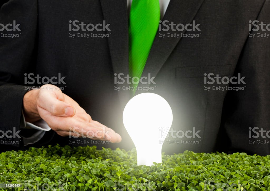 Salesman introducing environment friendly light bulb royalty-free stock photo