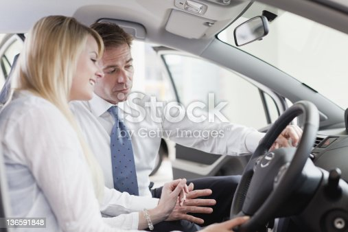 136591850 istock photo Salesman showing car to customer 136591848