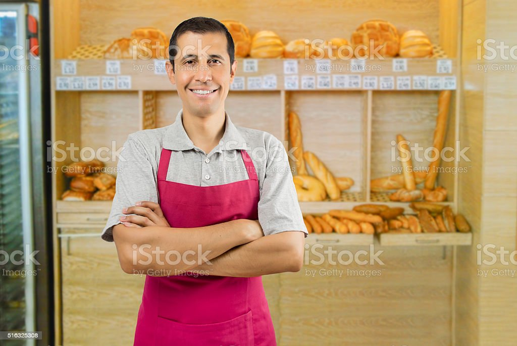 salesman waiting to her customers stock photo