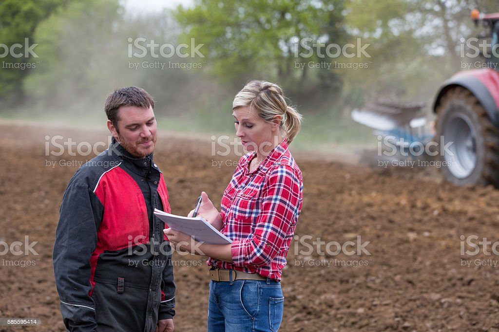 saleswoman dealing with farmer