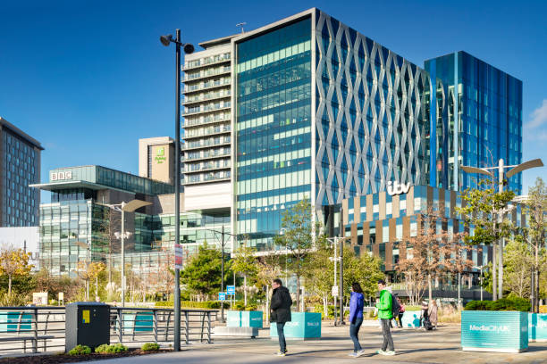 Salford Quays Manchester, UK, ITV and BBC Buildings on Sunny Day stock photo
