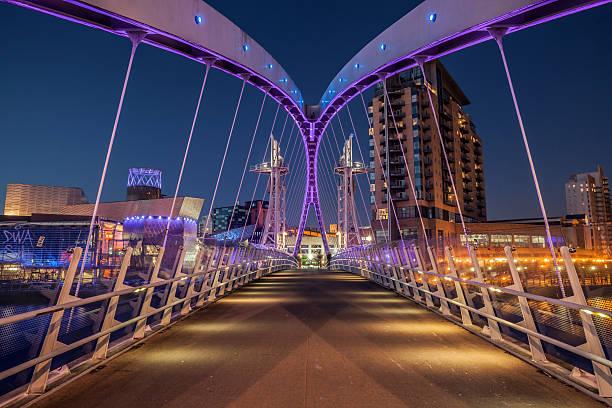 Salford Quays Millennium Bridge stock photo