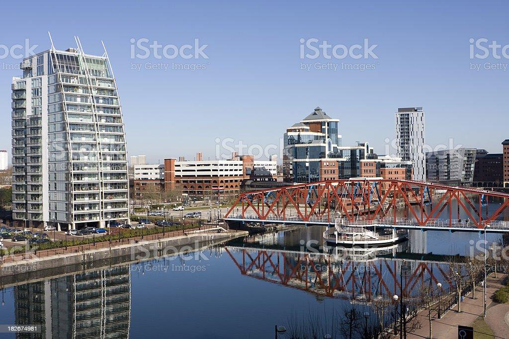 Salford Quays swing bridge royalty-free stock photo