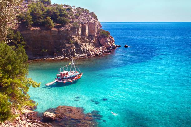 Saliara (Marble) Beach in Thassos Island Greece stock photo