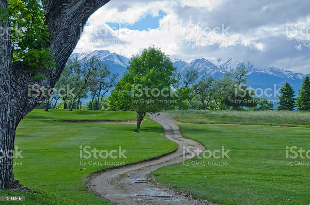 Salida Golf Course and Mountain Views stock photo