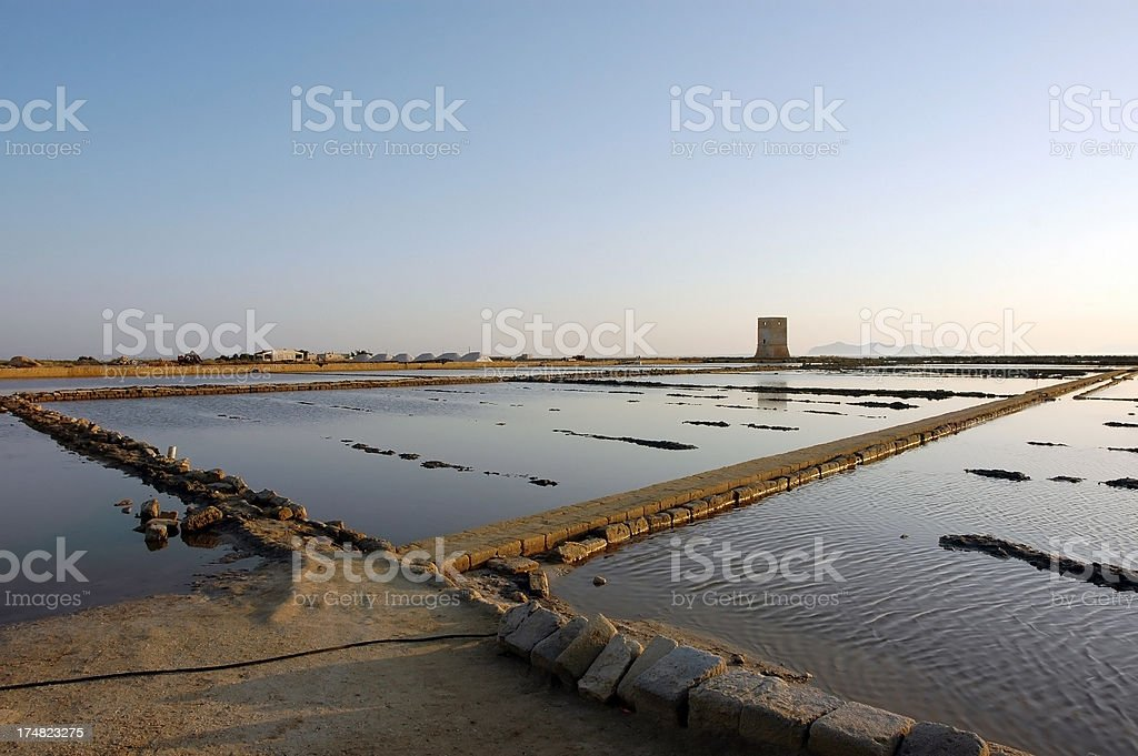 Salina in Marsala (Trapani), Italy royalty-free stock photo