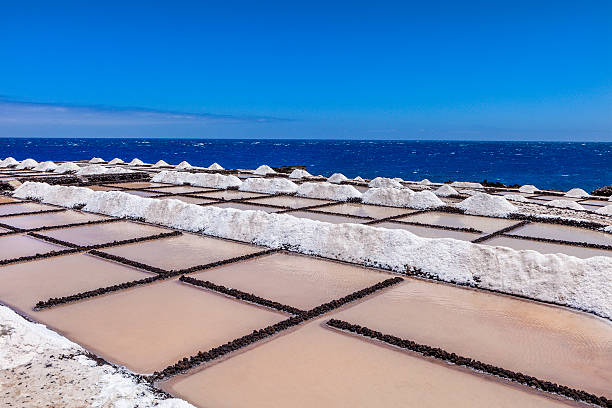 Salinas de Fuencaliente, La Palma The salt evaporation ponds of the municipality of Fuencaliente are the only ones kept in activity in La Palma and one of few in all Canary Islands. La Palma, Canary Islands, Spain. evaporation stock pictures, royalty-free photos & images