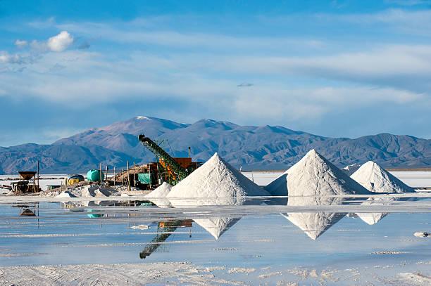 Salinas Grandes Salt desert in the Jujuy, Argentina stock photo