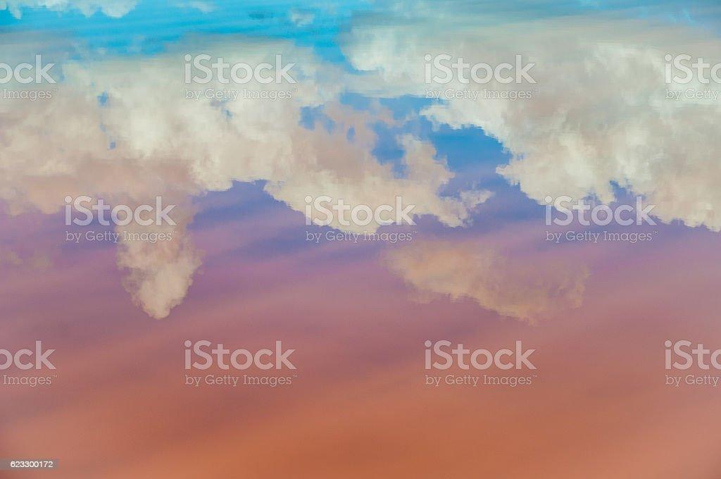 Saline auf Mallorca, Ses Salines, Wasserspiegelung stock photo