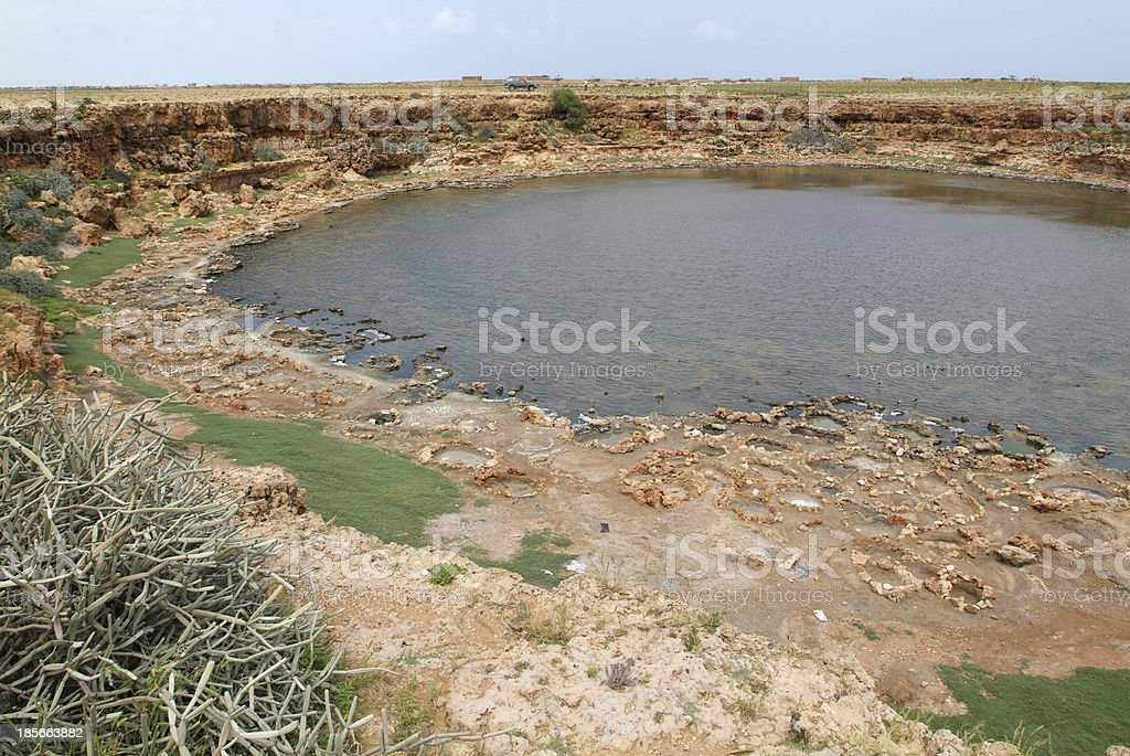 Saline crater lake at the isalnd of Socotra stock photo