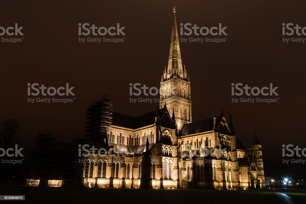 Salisbury Cathedral at night stock photo