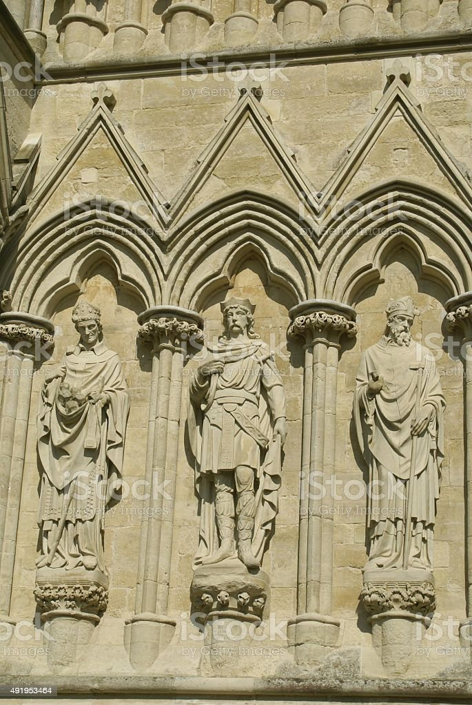 Salisbury Cathedral facade in Wiltshire, England stock photo