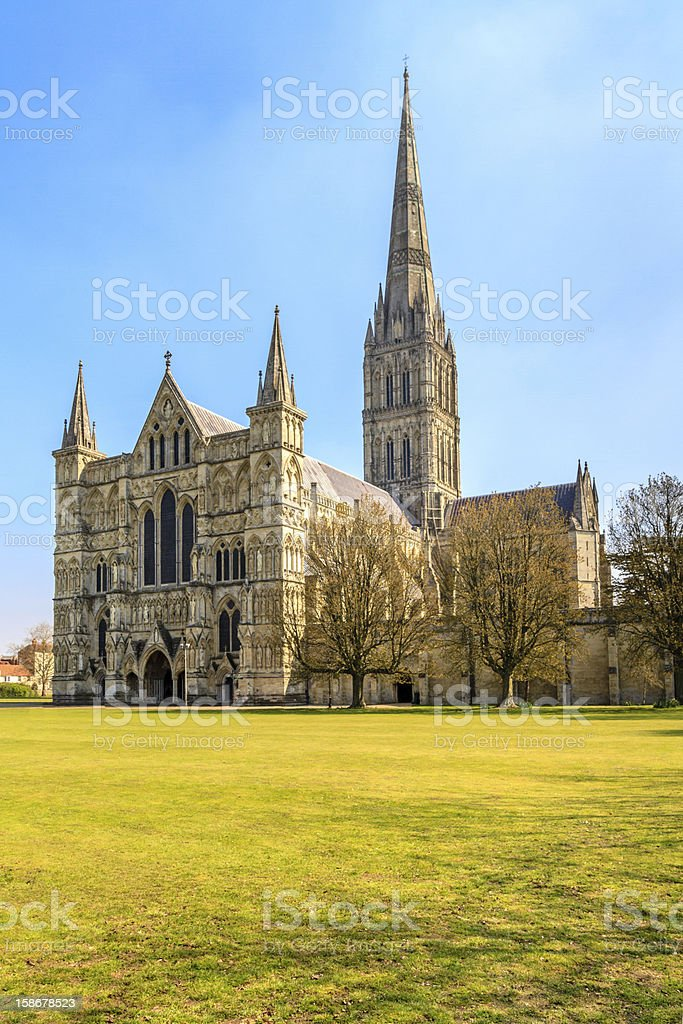 Salisbury Cathedral Front view, South England stock photo