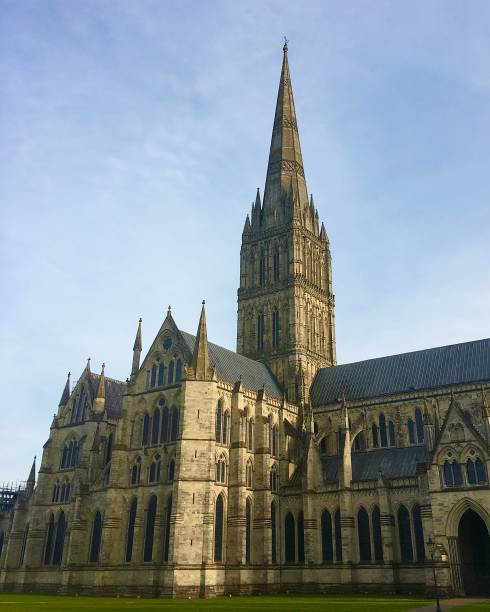 Salisbury Cathedral in the sunshine. stock photo