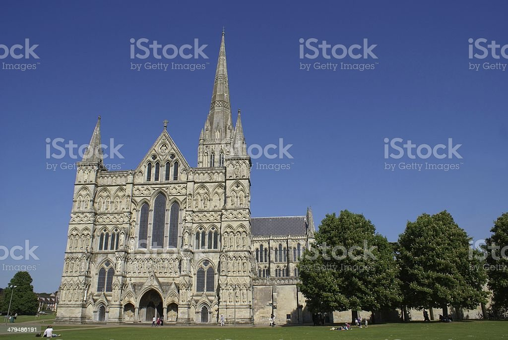 Salisbury Cathedral in Wiltshire, England stock photo