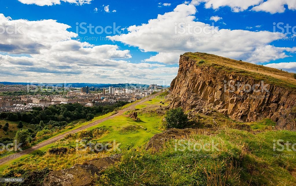 Salisbury Crags, Edinburgh, Scotland stock photo