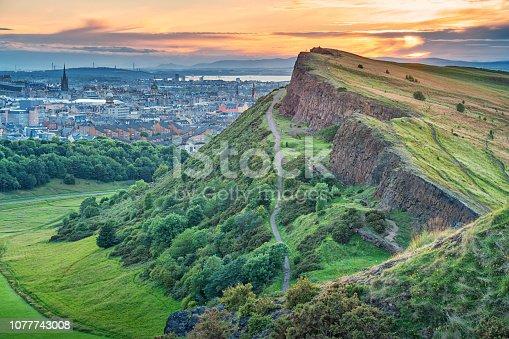 istock Salisbury Crags in Holyrood Park and downtown Edinburgh Scotland 1077743008