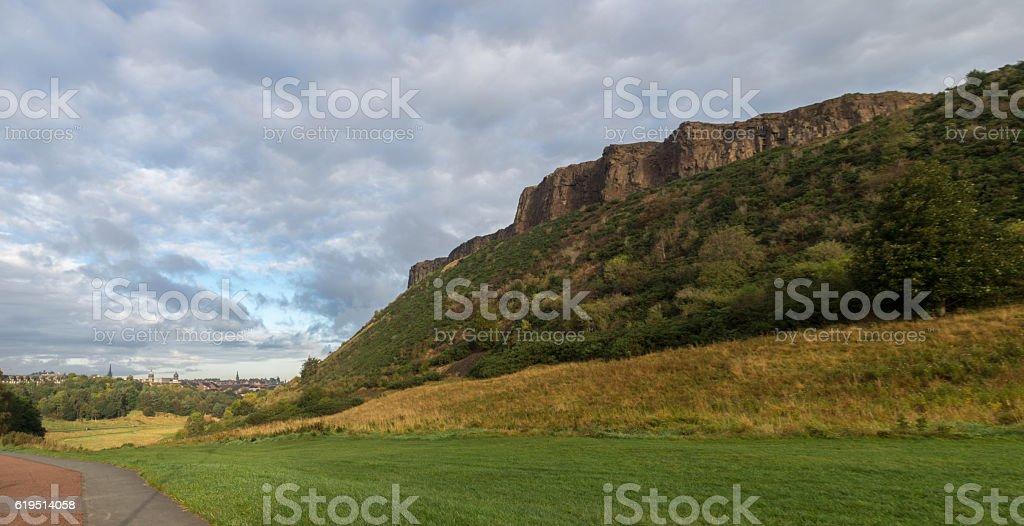 Salisbury Crags jogging path stock photo