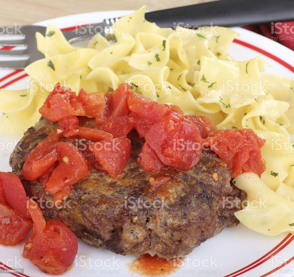 Salisbury Steak and Noodles stock photo