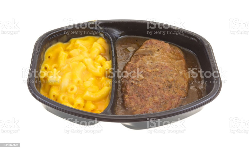 Salisbury steak meal with macaroni and cheese TV dinner stock photo