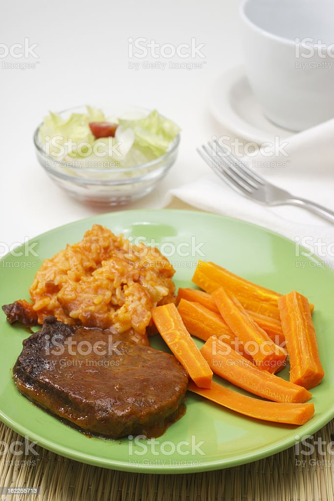 Salisbury Steak with Rice and Carrots stock photo
